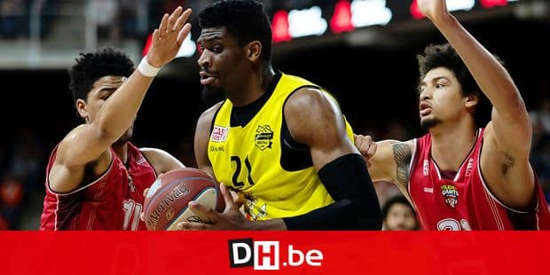 Oostende's Shevon Thompson pictured in action during the basketball match between Antwerp Giants and BC Oostende, Friday 07 June 2019 in Antwerp, the first game of a possible 5 in the finals of the playoffs of the 'EuroMillions League' Belgian first division basket competition. BELGA PHOTO KRISTOF VAN ACCOM