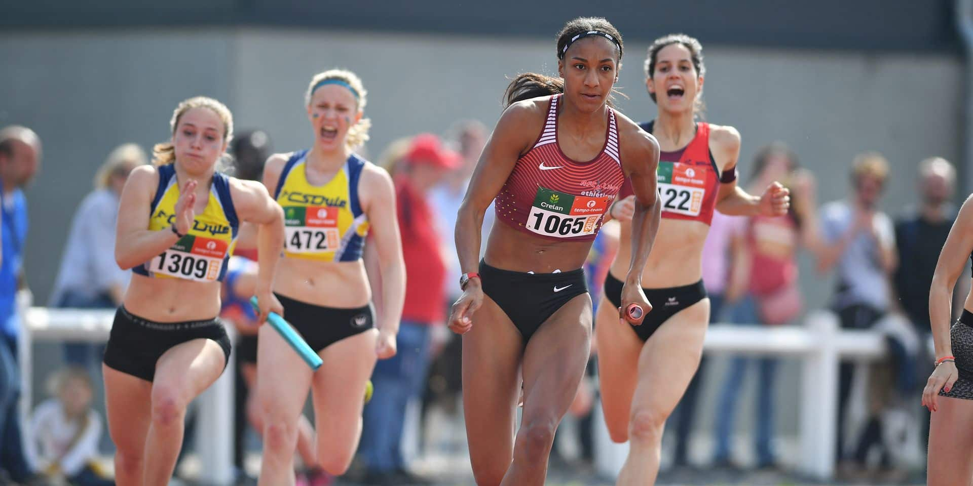 Belgian athlete Nafissatou 'Nafi' Thiam (C) pictured in action during the 4x100m relay race at the RUSTA Intercercles women's athletics meeting, Saturday 18 May 2019 in Gaurain-Ramecroix, Tournai. BELGA PHOTO DAVID STOCKMAN