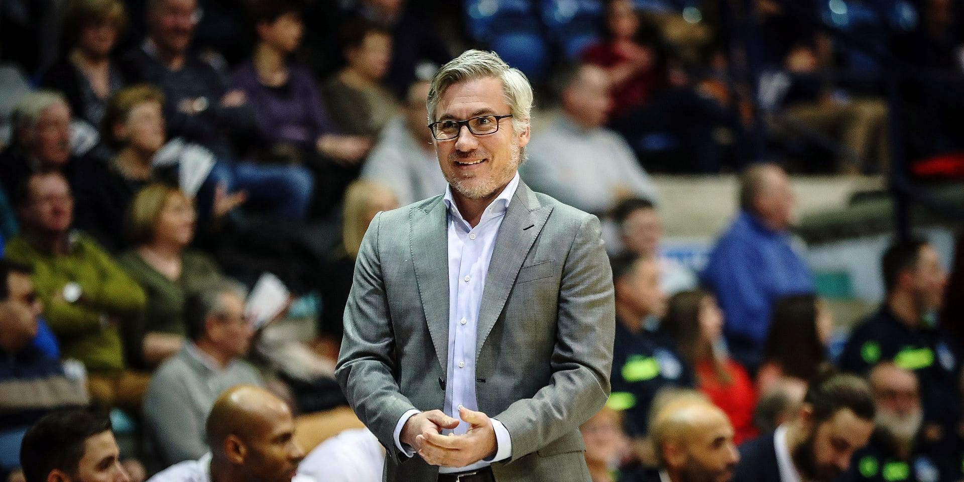 Mons 12/01/2019 Basket/EuroMillions League/Game 13/Belfius Mons-Brussels/ Crevecoeur coach Brussels PHOTO : BENOIT BOUCHEZ Copyright PHOTO NEWS 2019-PICTURES NOT INCLUDED IN THE CONTRACTS