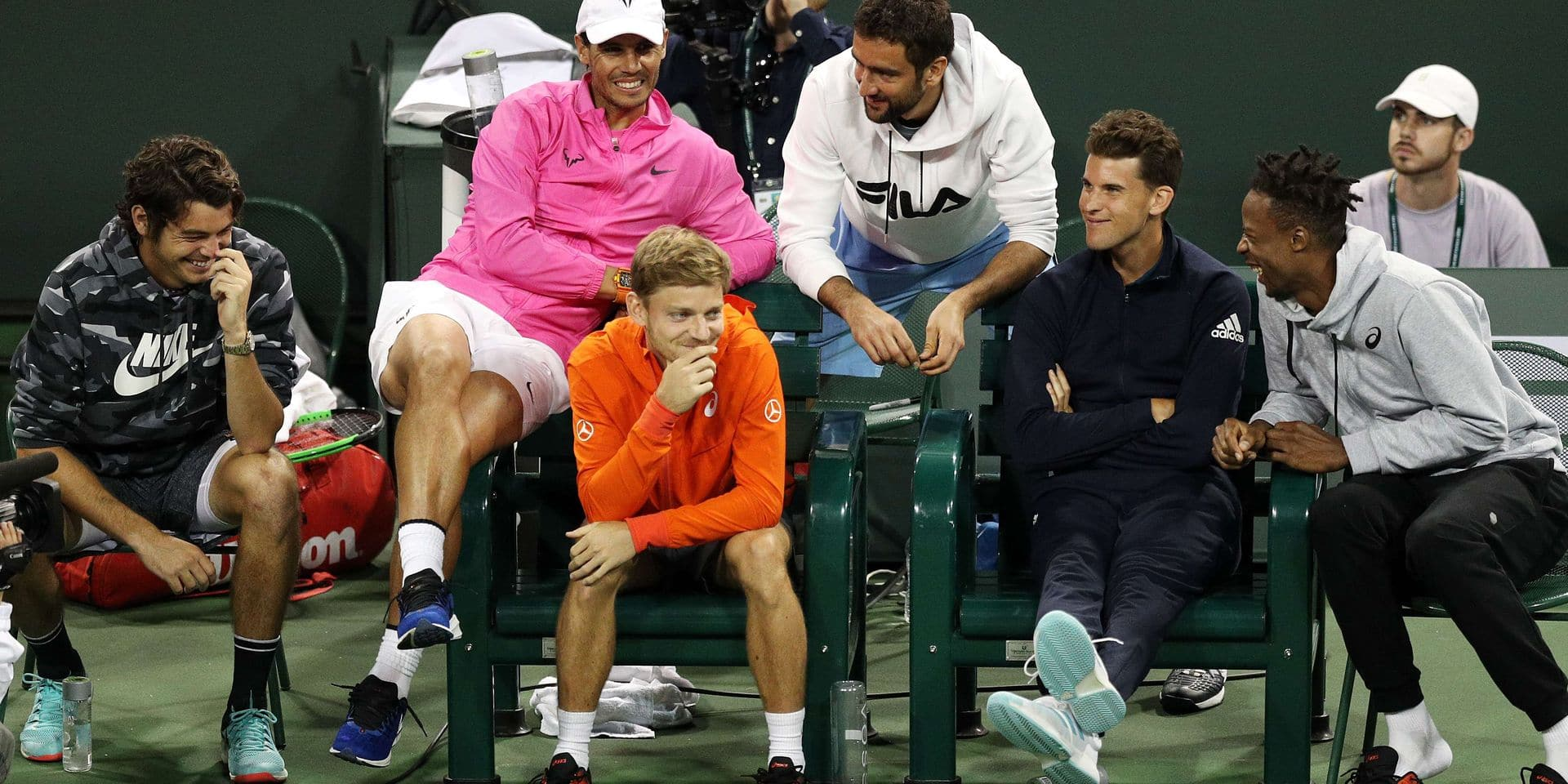 INDIAN WELLS, CALIFORNIA - MARCH 05: Taylor Fritz of the United States, Rafael Nadal of Spain, David Goffin of Belgium, Marin Cilic of Croatia, Dominic Thiem of Austria and Gael Monfils of France share a moment during the the final of the Eisenhower Cup, a Tie Break Tens event, on Day 2 of the BNP Paribas Open at the Indian Wells Tennis Garden on March 05, 2019 in Indian Wells, California. Yong Teck Lim/Getty Images/AFP == FOR NEWSPAPERS, INTERNET, TELCOS & TELEVISION USE ONLY ==