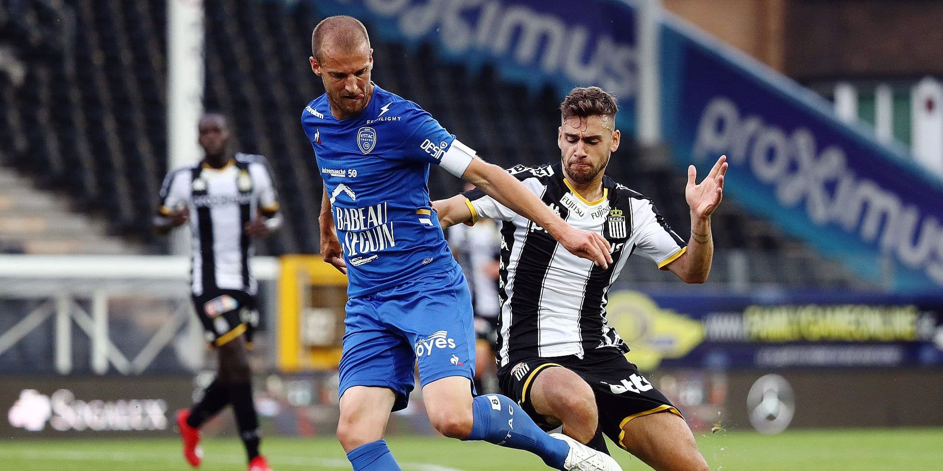 Charleroi's Massimo Bruno fights for the ball during a friendly soccer game between Belgian club Sporting Charleroi and French team Troyes AC, Friday 19 July 2019 in Charleroi, in preparation of the upcoming 2019-2020 Jupiler Pro League season. BELGA PHOTO VIRGINIE LEFOUR