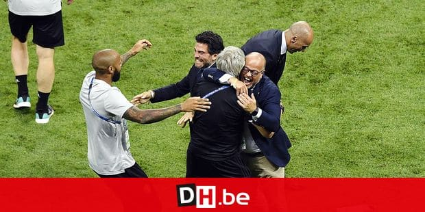 Belgium's assistant coach Thierry Henry, Mehdi Bayat, KBVB-URBSFA vice-chairman Bart Verhaeghe and Belgium's head coach Roberto Martinez celebrate after winning a soccer game between Belgian national soccer team the Red Devils and Brazil in Kazan, Russia, Friday 06 July 2018, the quarter-finals of the 2018 FIFA World Cup. BELGA PHOTO LAURIE DIEFFEMBACQ