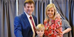 Tournai acting mayor Paul-Olivier Delannois and his family pictured at a polling station in Tournai, Sunday 14 October 2018. Belgium votes in municipal, district and provincial elections. BELGA PHOTO CAMILLE DELANNOIS