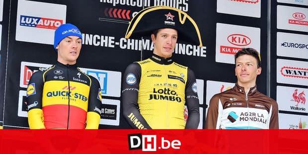 "Binche-Chimay-Binche 2018: 2. Yves Lampaert (Bel), 1. Danny Van Poppel (P-B), 2. Oliver Naesen (Bel). on the picture regarding the Belga article ""Danny Van Poppel espere tenter sa chance dans les classiques en 2019 "", 02/10/2018 19:05, in SENEFFE. BEST QUALITY AVAILABLE - BELGA PHOTO ERIC CORNU"