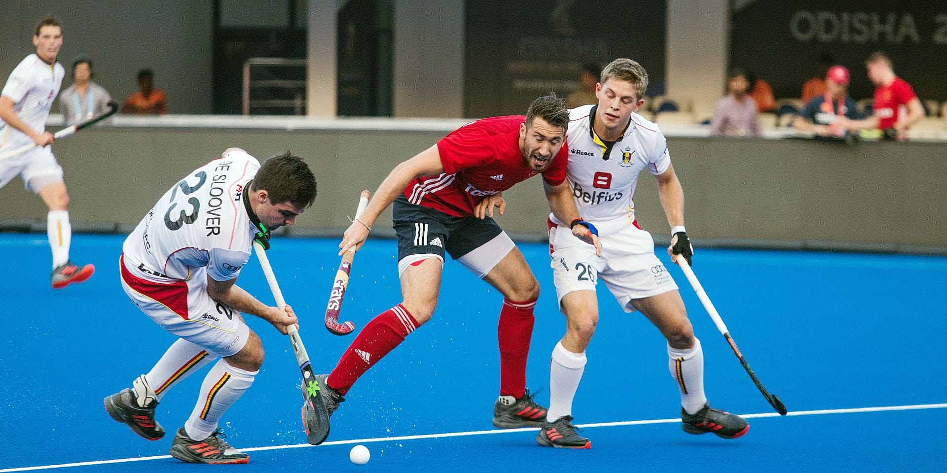 Belgium's Arthur De Sloover (L) and Belgium's Victor Wegnez (R) pictured in action during a game of Belgian national hockey team the Red Lions and England in the Kalinga Stadium in Bhubaneswar, India, at the hockey World Cup, Monday 26 November 2018. BELGA PHOTO DANIEL TECHY