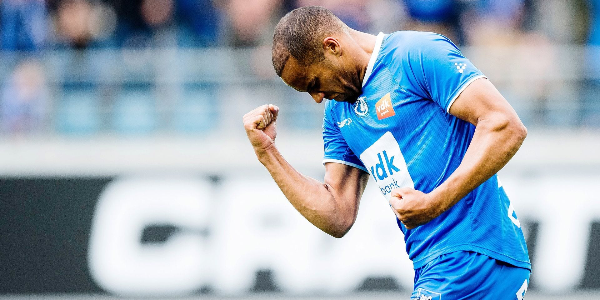 Gent's Vadis Odjidja-Ofoe celebrate after scoring a disallowed goal during the Jupiler Pro League match of Play-Off group 1, between KAA Gent and Club Brugge KV, in Gent, Sunday 05 May 2019, on day 7 of the Play-Off 1 of the Belgian soccer championship. BELGA PHOTO JASPER JACOBS