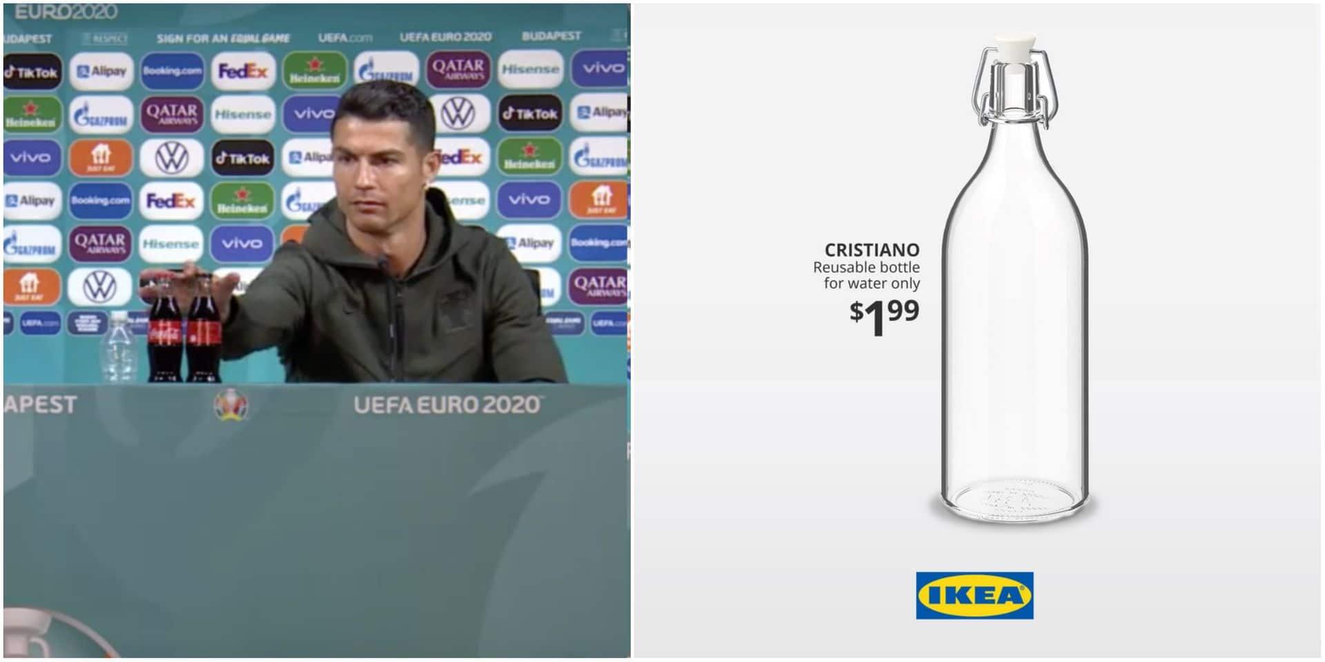"""Ikea s'empare du buzz de Ronaldo avec Coca-Cola et lance sa bouteille """"Cristiano"""": """"Réutilisable pour l'eau uniquement"""""""