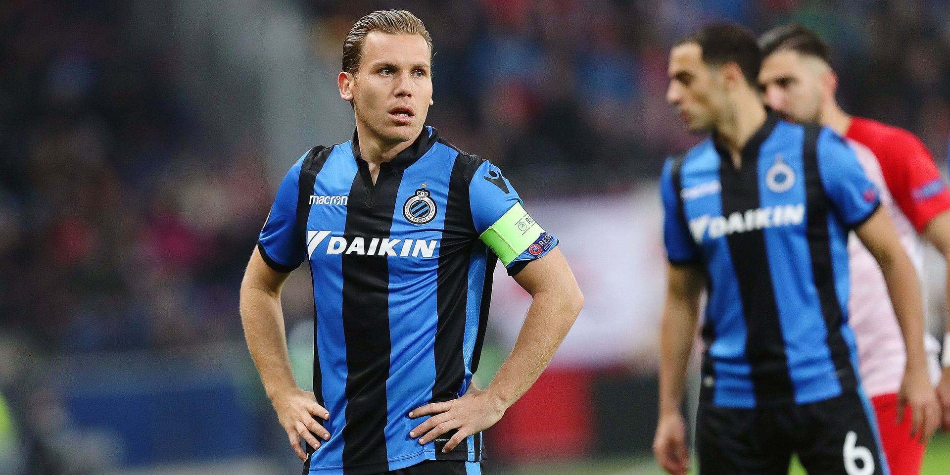 Club's Ruud Vormer looks dejected during the match between Belgian soccer team Club Brugge against Austrian team FC Red Bull Salzburg, Thursday 21 February 2019 in Salzburg, Austria, the return leg of the 1/16 finals (group of 32) of the Europa League competition. BELGA PHOTO BRUNO FAHY