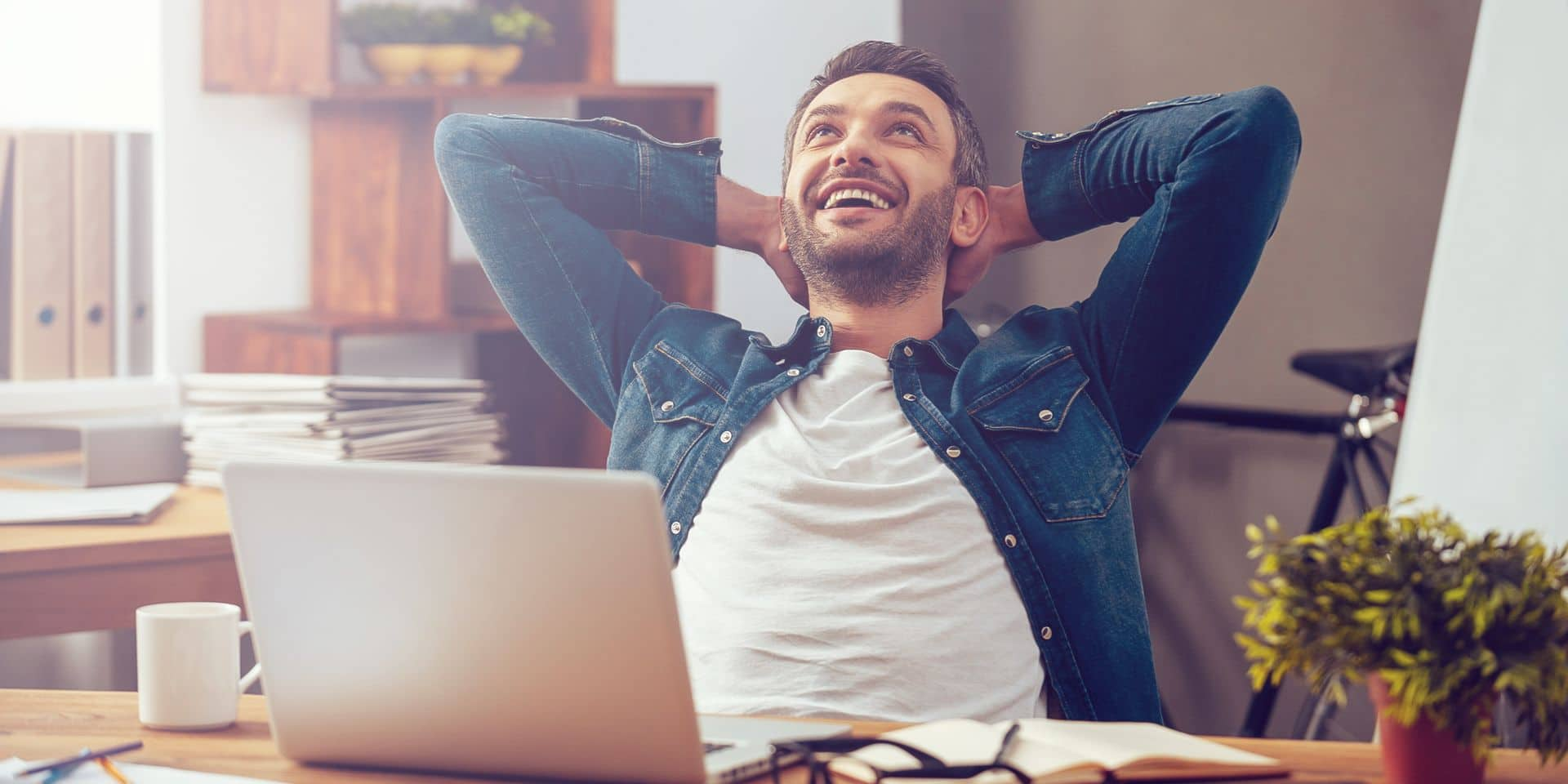 Satisfied,With,Work,Done.,Happy,Young,Man,Working,On,Laptop
