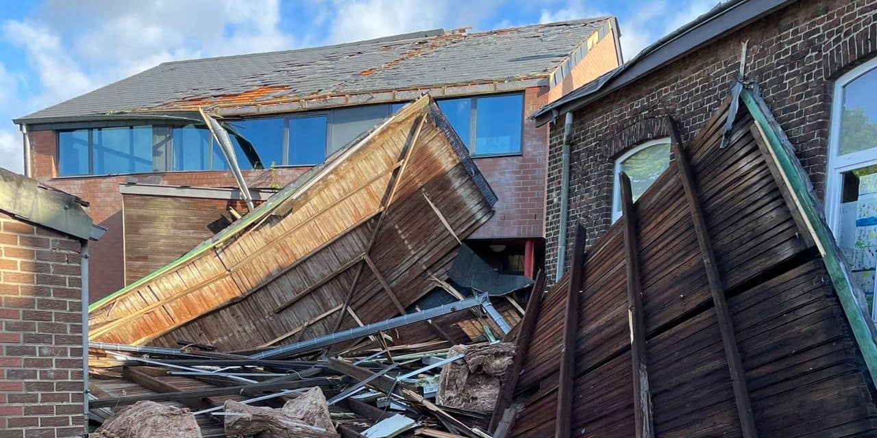 Olne : le toit d'un bâtiment de l'école communale de Saint-Hadelin s'est envolé