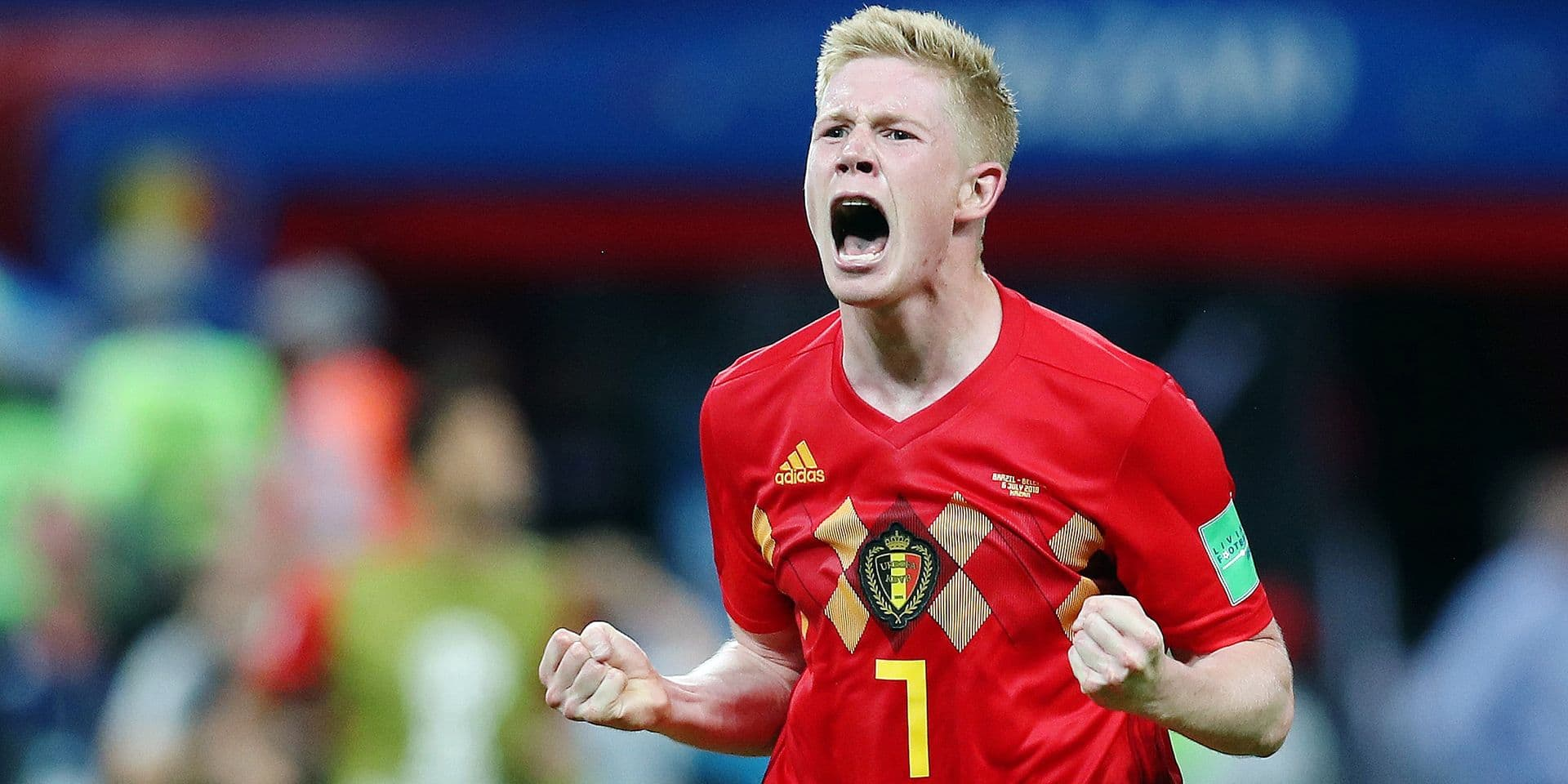Belgium's Kevin De Bruyne celebrates after a soccer game between Belgian national soccer team the Red Devils and Brazil in Kazan, Russia, Friday 06 July 2018, the quarter-finals of the 2018 FIFA World Cup. BELGA PHOTO BRUNO FAHY
