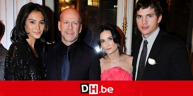 EXCLUSIVE. NO TABLOIDS. Bruce Willis and girlfriend Emma Heming, Demi Moore and boyfriend Ashton Kutcher attend the cocktail party hosted by the Baccarat Museum in Paris, France on November 28, 2008, in honour of the 18th Paris Haute-Couture Ball (Bal des Debutantes). Photo by Gouhier-Guibbaud-Nebinger-Orban/ABACAPRESS.COM Mandatory Credit : Hotel de Crillon Paris, adler Jeweller, Hairstyle by Alexandre de Paris and Make-up by MAC Ref: 171481 REPORTERS / abaca