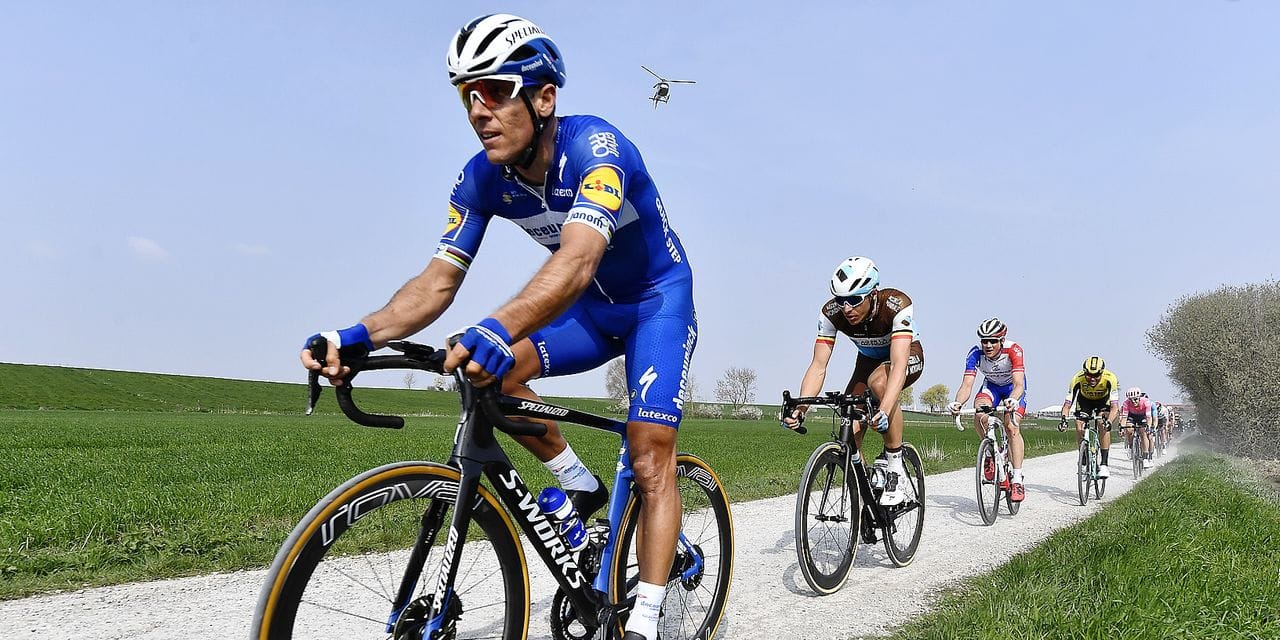 Belgian Philippe Gilbert of Deceuninck - Quick-Step pictured in action during the Gent-Wevelgem - In Flanders Fields cycling race, 251,5 km from Deinze, near Gent, to Wevelgem, Sunday 31 March 2019. BELGA PHOTO DIRK WAEM