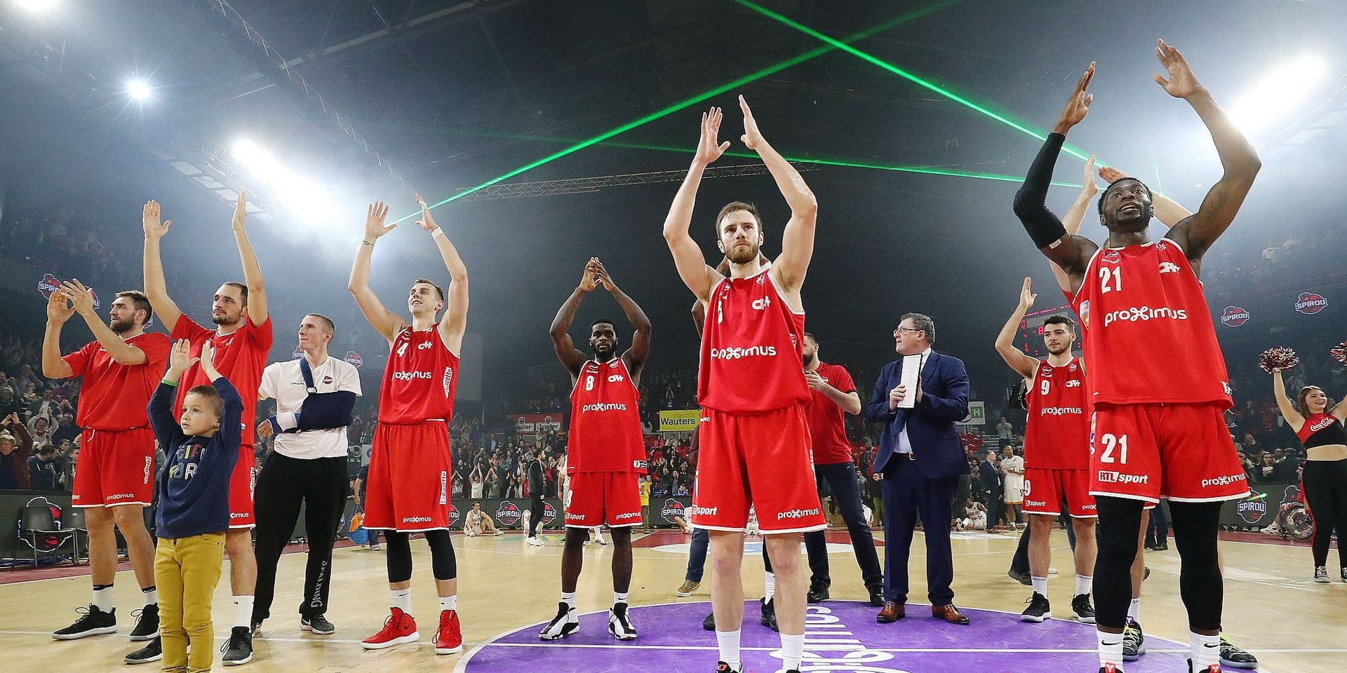 Charleroi's Alexandre Libert celebrates after winning the basketball match between Spirou Charleroi and Brussels, Friday 01 March 2019 in Charleroi, on day 18 of the 'EuroMillions League' Belgian first division basket competition. BELGA PHOTO VIRGINIE LEFOUR