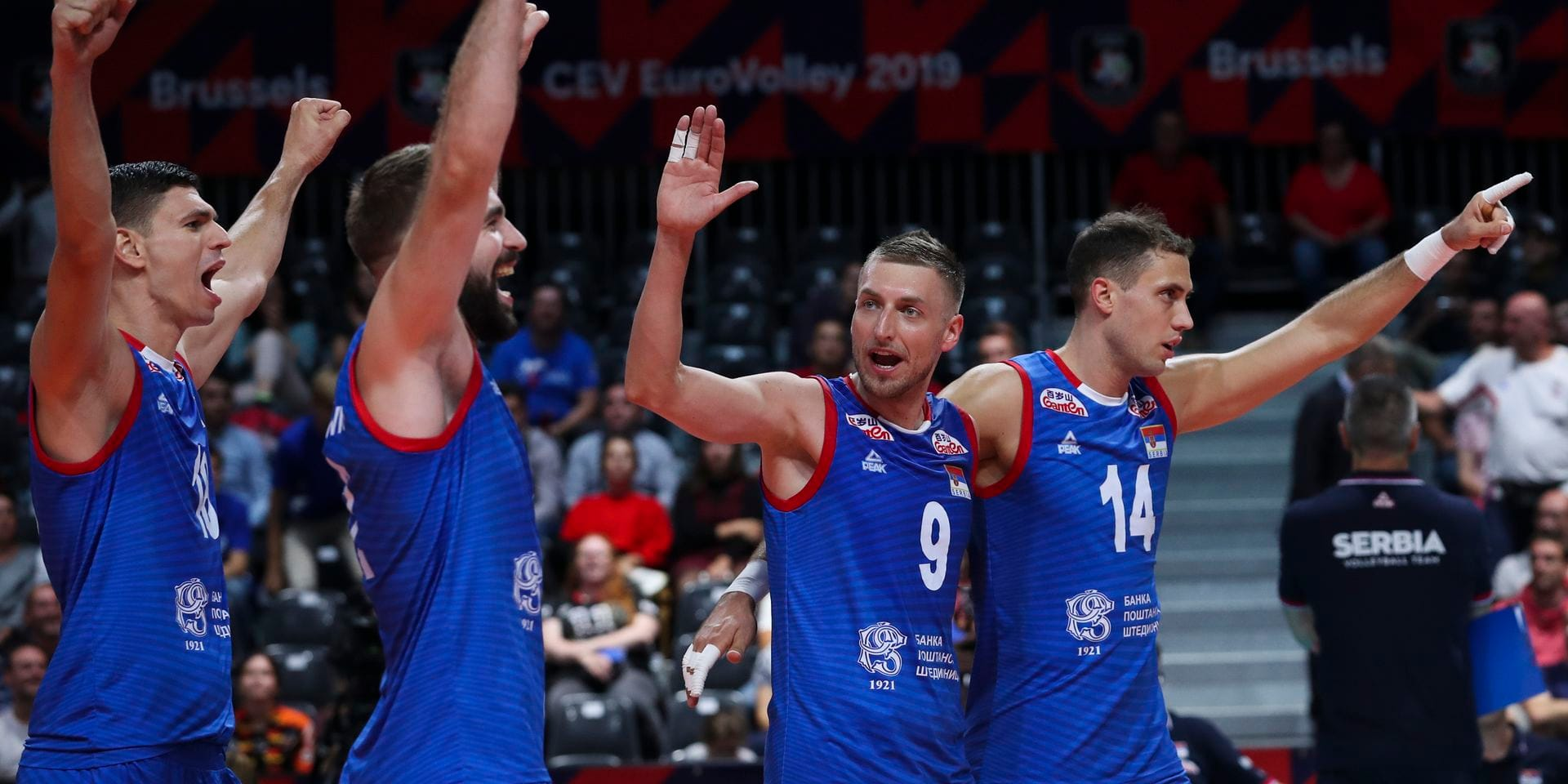 Serbia players celebrate after beating Germany in the European Volleyball Championship group B match between Serbia and Germany at the Paleis 12 hall in Brussels, Friday, Sept. 13, 2019. Serbia won the match 3-0. (AP Photo/Francisco Seco)
