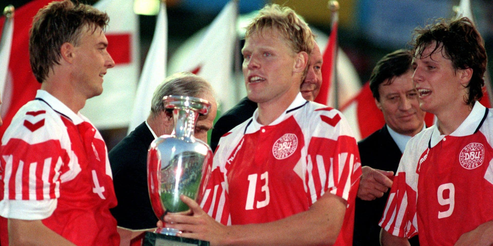 UEFA EURO 92: celebrating Danish players with cup