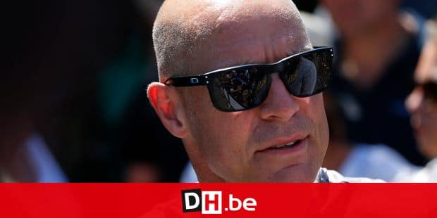 Team Sky manager Sir Dave Brailsford talk to an acquaintance prior to the third stage of the Tour de France cycling race, a team time trial over 35.5 kilometers (22 miles) with start and finish in Cholet, France, Monday, July 9, 2018. (AP Photo/Peter Dejong)