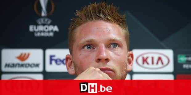 Standard's Renaud Emond pictured during a press conference of Belgian soccer club Standard de Liege, Wednesday 18 September 2019 in Liege. Tomorrow Standard will meet Portuguese team Vitoria SC in the first day of the group stage of the UEFA Europa League, in the group F. BELGA PHOTO VIRGINIE LEFOUR