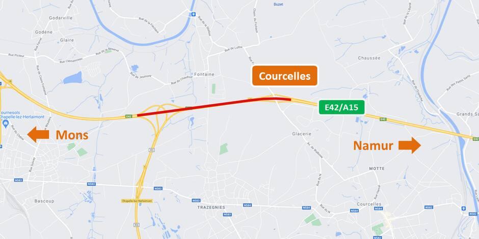 E42/A15: fermeture nocturne le 19 octobre entre Courcelles et Gouy-lez-Piéton