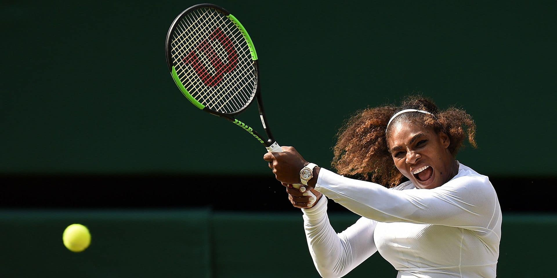 US player Serena Williams returns against Germany's Julia Goerges during their women's singles semi-final match on the tenth day of the 2018 Wimbledon Championships at The All England Lawn Tennis Club in Wimbledon, southwest London, on July 12, 2018. Williams won the match 6-2, 6-4. / AFP PHOTO / Oli SCARFF / RESTRICTED TO EDITORIAL USE