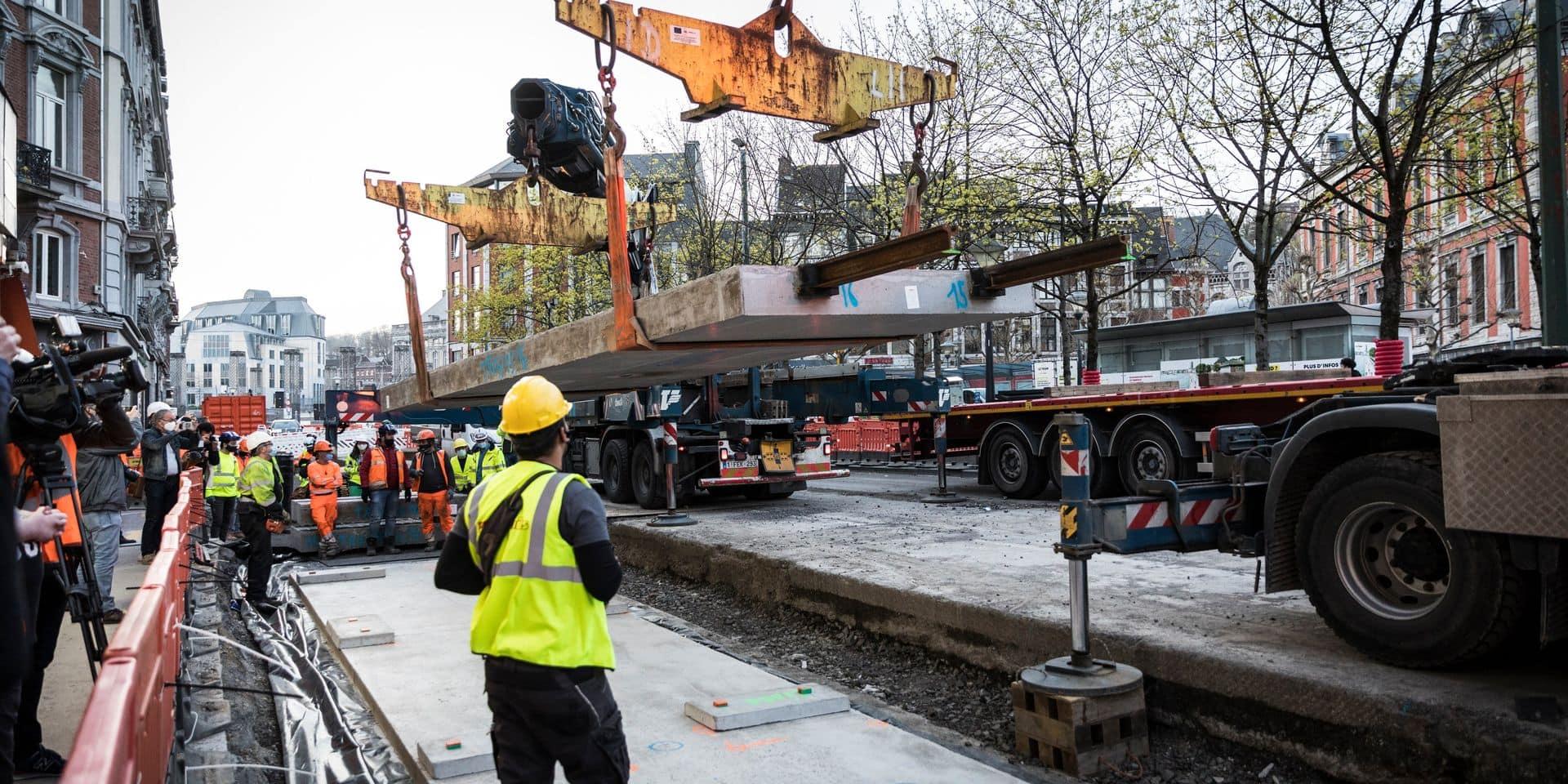 Les premiers rails du tram posés dans le centre-ville de Liège !