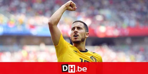 TOPSHOT - Belgium's forward Eden Hazard celebrates his second goal during the Russia 2018 World Cup Group G football match between Belgium and Tunisia at the Spartak Stadium in Moscow on June 23, 2018. / AFP PHOTO / Yuri CORTEZ / RESTRICTED TO EDITORIAL USE - NO MOBILE PUSH ALERTS/DOWNLOADS