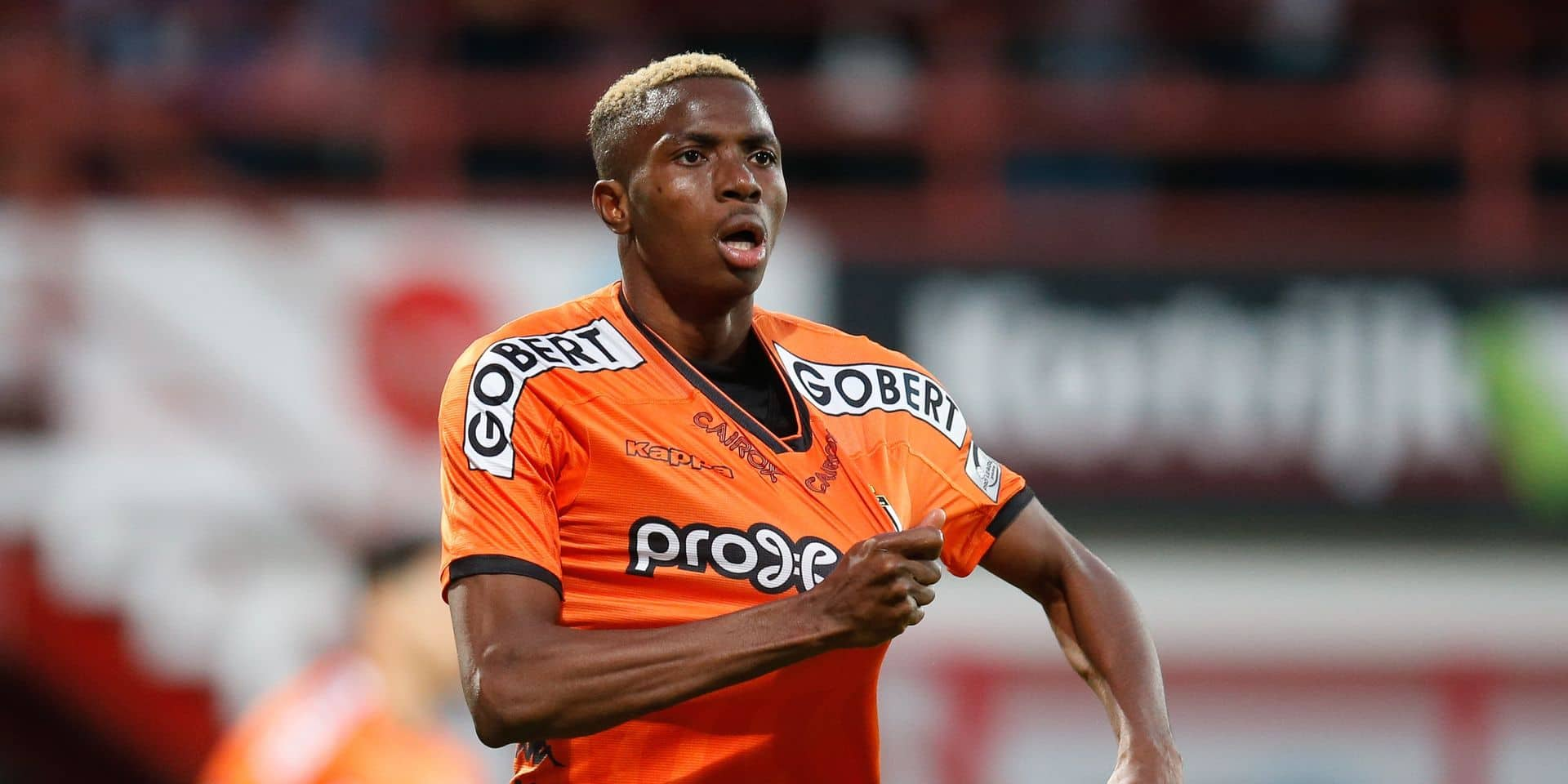 Charleroi's Victor Osimhen celebrates after scoring during a soccer game between KV Kortrijk and Sporting Charleroi, Wednesday 22 May 2019 in Kortrijk, the finals of the Play-off 2 of the 'Jupiler Pro League' Belgian soccer championship. BELGA PHOTO BRUNO FAHY