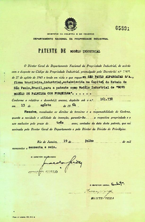 Voici le document officiel qui lança l'entreprise Havaianas sur la route du succès.