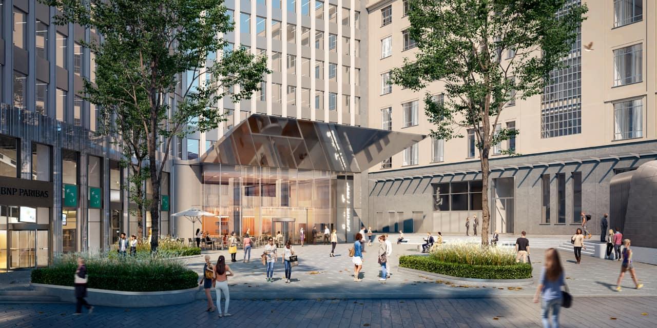 Porte de Namur : réaménagement du square du Bastion, avec une nouvelle entrée pour la station de métro