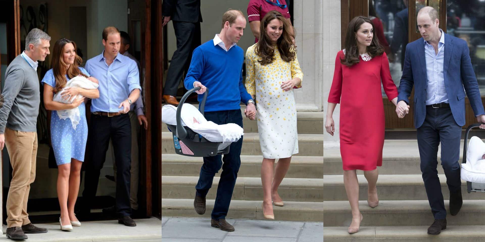 Les robes symboliques de Kate Middleton pour présenter ses bébés