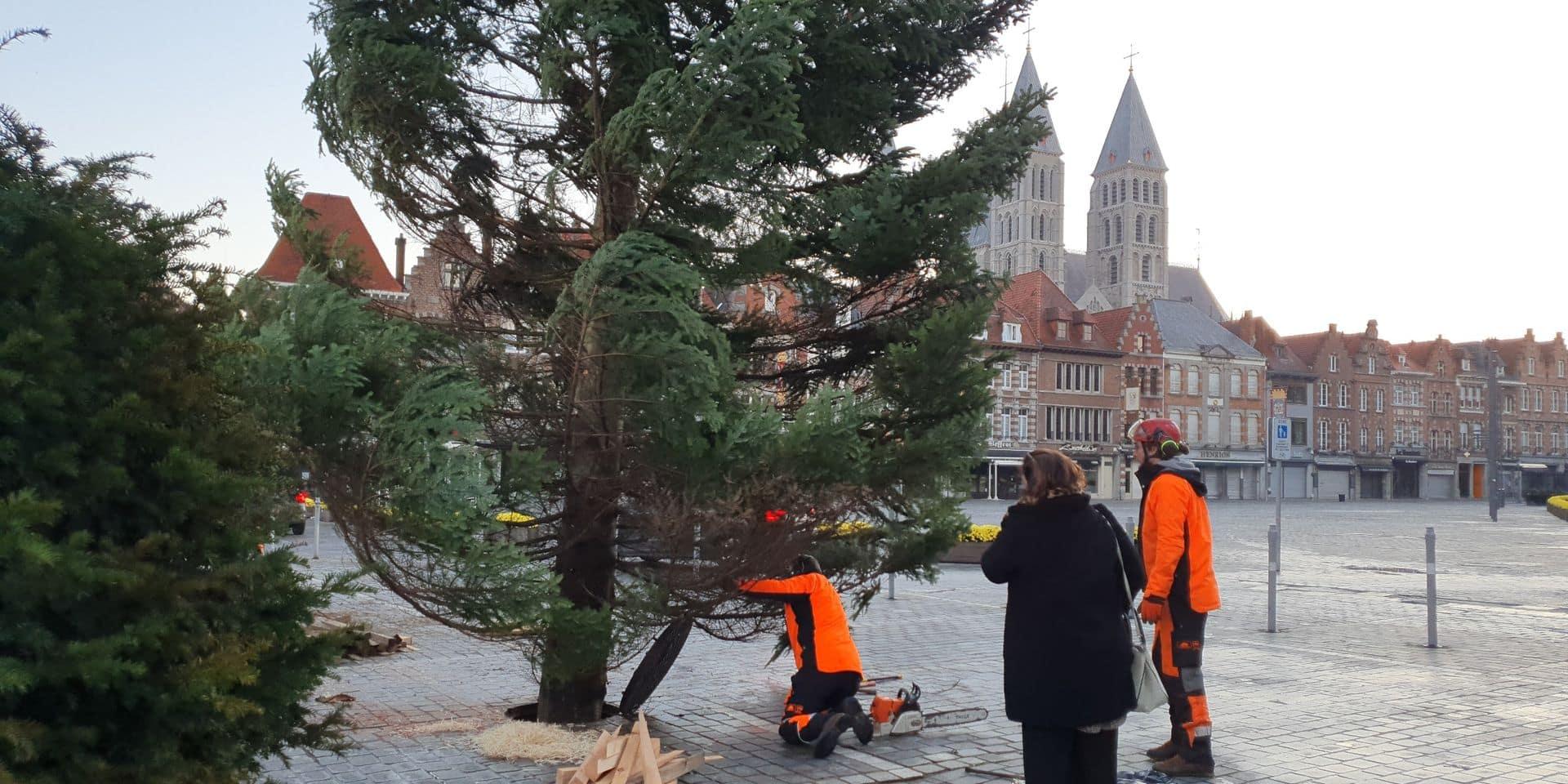 Tournai: l'installation du sapin, une opération délicate ! (VIDEO)