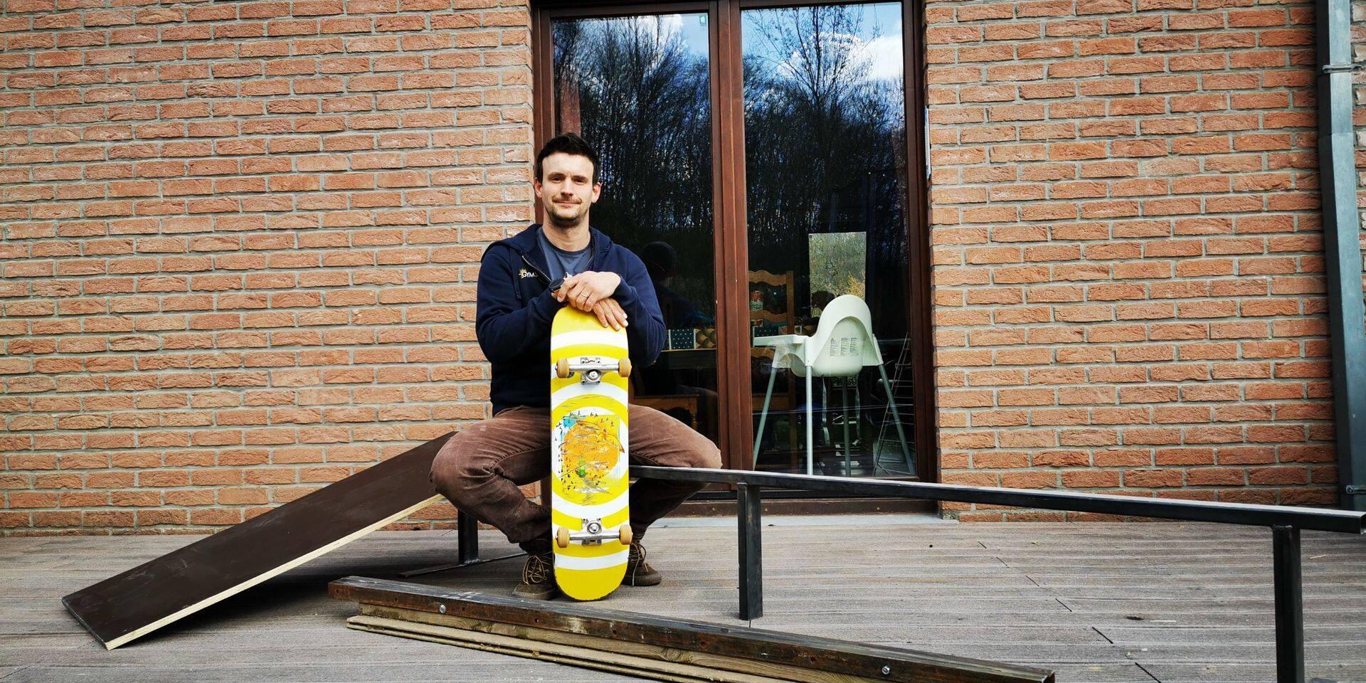 Cinq modules pour un skatepark transportable à Anhée