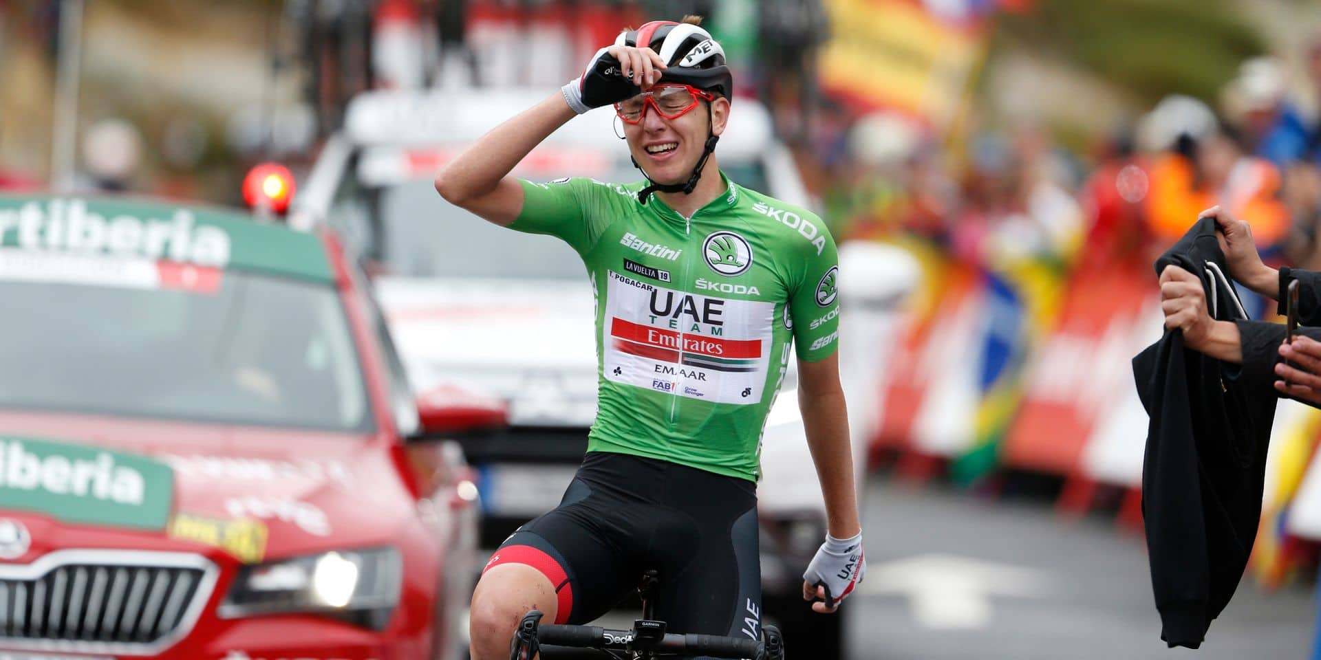 Slovenian Tadej Pogacar of UAE Team Emirates celebrates after winning stage 20 of the 2019 edition of the 'Vuelta a Espana', Tour of Spain cycling race, from Arenas de San Pedro to Plataforma de Gredos (190,4 km), Saturday 14 September 2019. BELGA PHOTO YUZURU SUNADA - FRANCE OUT