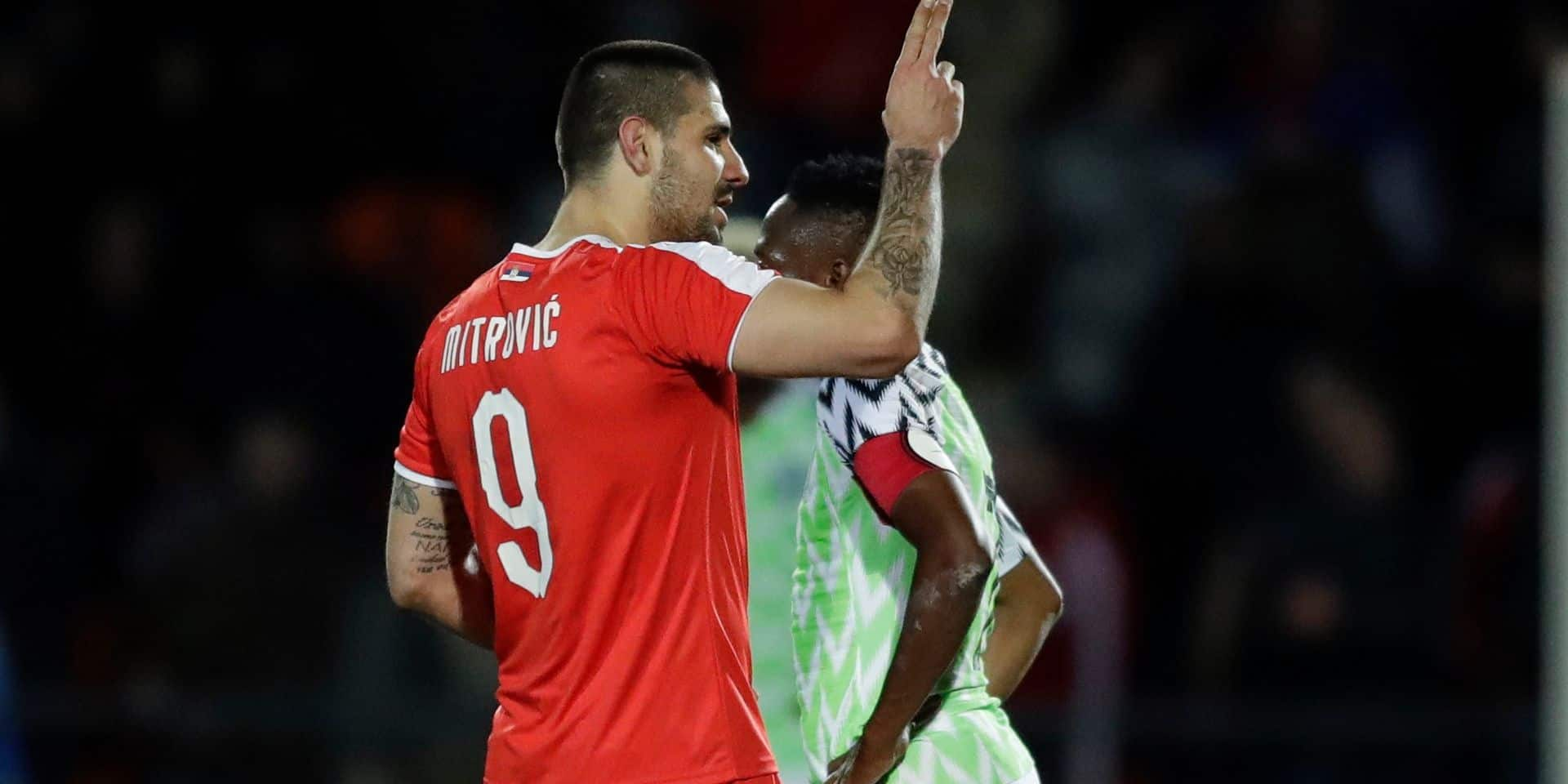 Serbia's Aleksandar Mitrovic celebrates scoring his second goal during the international friendly soccer match between Serbia and Nigeria at The Hive Stadium in London, Tuesday, March 27, 2018. (AP Photo/Matt Dunham)