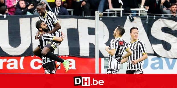 Charleroi's Kaveh Rezaei celebrates after scoring during the Jupiler Pro League match between Sporting Charleroi and Club Brugge KV, in Charleroi, Thursday 10 May 2018, on day eight of the Play-Off 1 of the Belgian soccer championship. BELGA PHOTO BRUNO FAHY