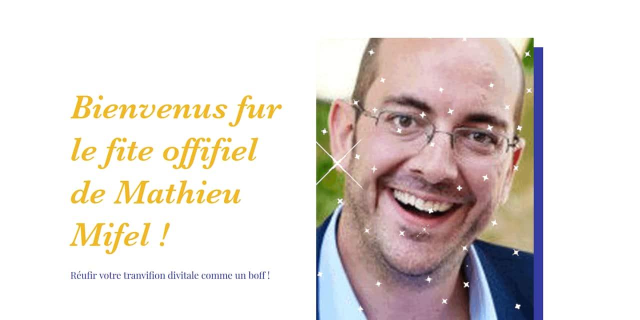 """Coucou Charles se paye gentiment Mathieu Michel avec un site web ridicule: """"Qui fuis-ve ? Mathieu Mifel, évidemon"""""""