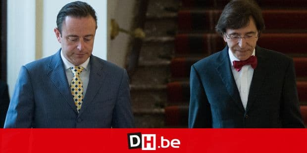 20140527 - BRUSSELS, BELGIUM: N-VA chairman Bart De Wever and PS chairman Elio Di Rupo (outging Prime Minister) pictured after a bilateral meeting of N-VA chairman and royal informant Bart De Wever and parties chairmen on the formation of a new federal government after last Sunday's elections, Tuesday 27 May 2014, in the senate in Brussels. Belgian King gave an information mission to Bart De Wever on May 27th. BELGA PHOTO BENOIT DOPPAGNE