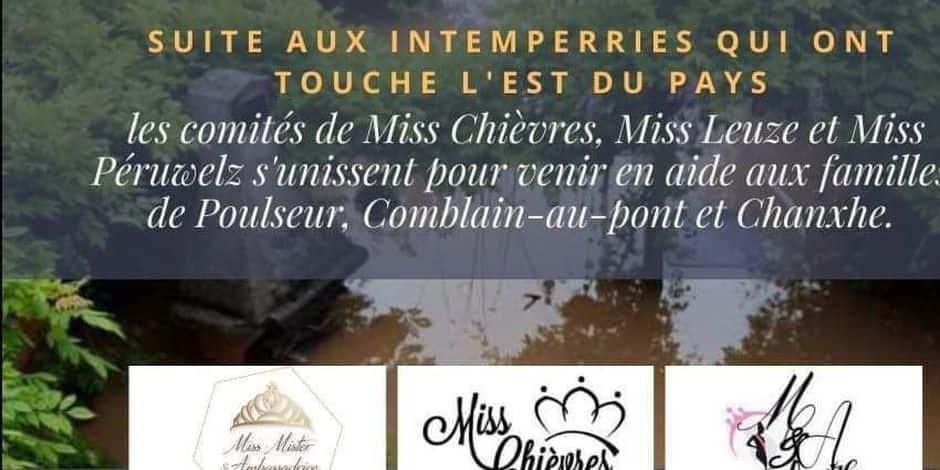 Inondations : les comités Miss Péruwelz, Leuze et Chièvres unissent leurs efforts