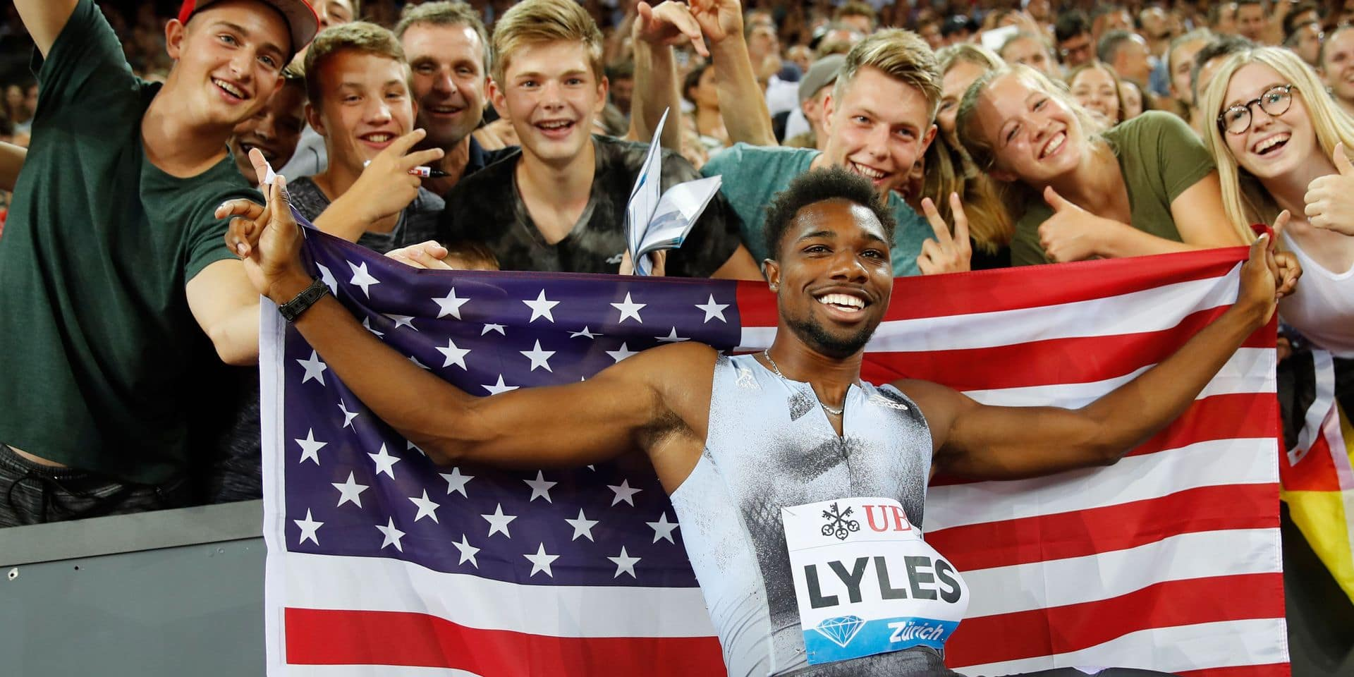 TOPSHOT - US Noah Lyles celebrates after winning in the Men 100m during the IAAF Diamond League competition on August 29, 2019, in Zurich. (Photo by STEFAN WERMUTH / AFP)