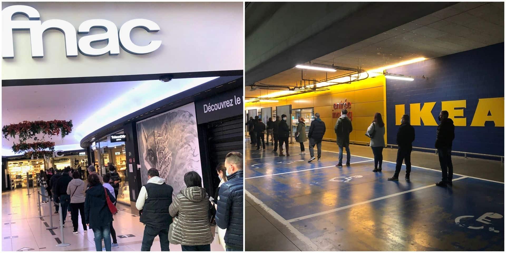 Certains magasins pris d'assaut ce samedi: de longues files devant les Ikea d'Anderlecht et de Zaventem, du monde aussi à la Fnac de la Toison d'Or (PHOTOS + VIDEOS)