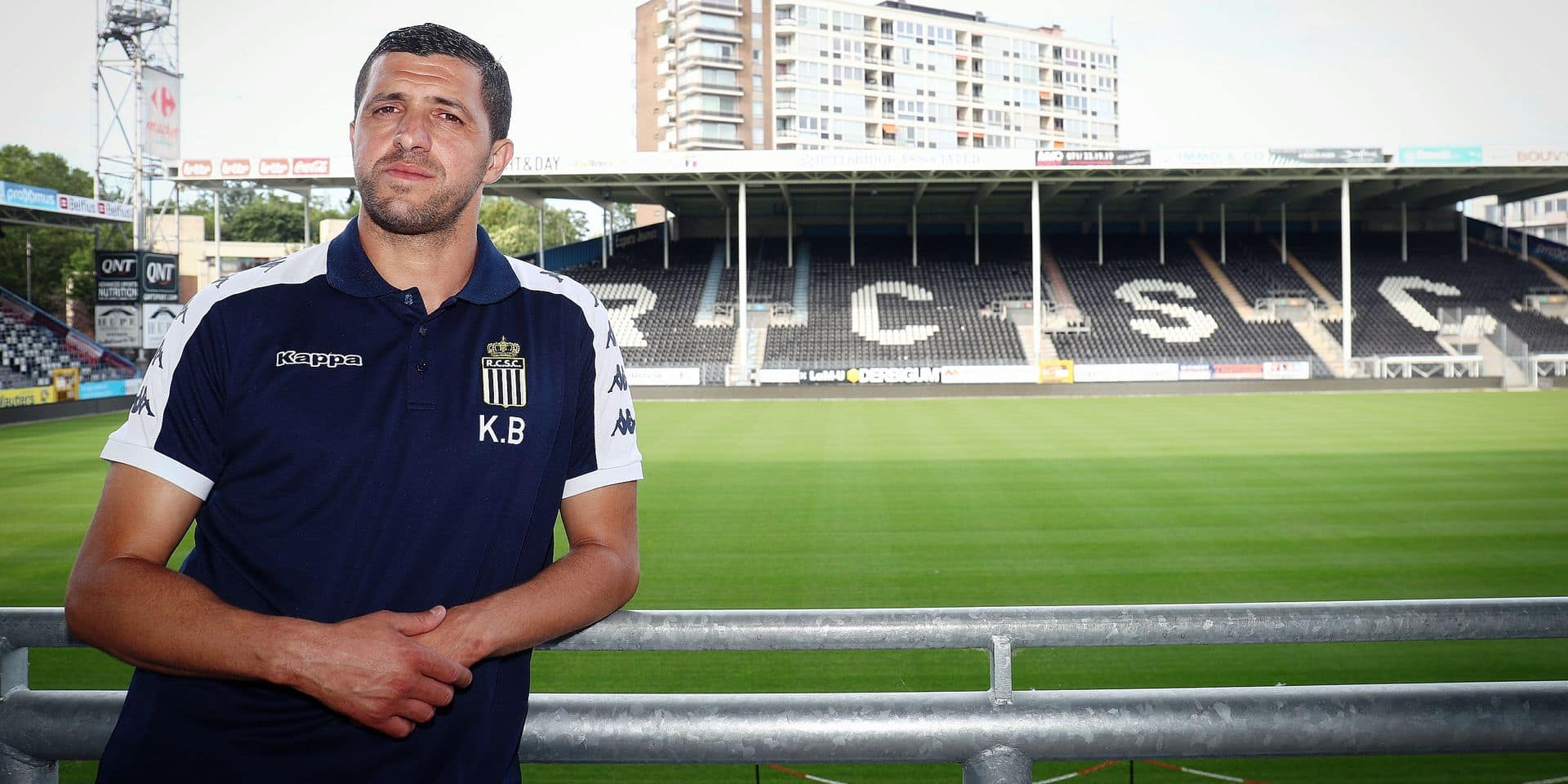 Charleroi's new head coach Karim Belhocine poses for the photographer after a press conference of Belgian soccer team Sporting Charleroi, Monday 24 June 2019 in Charleroi, in preparation of the upcoming 2019-2020 Jupiler Pro League season. BELGA PHOTO VIRGINIE LEFOUR