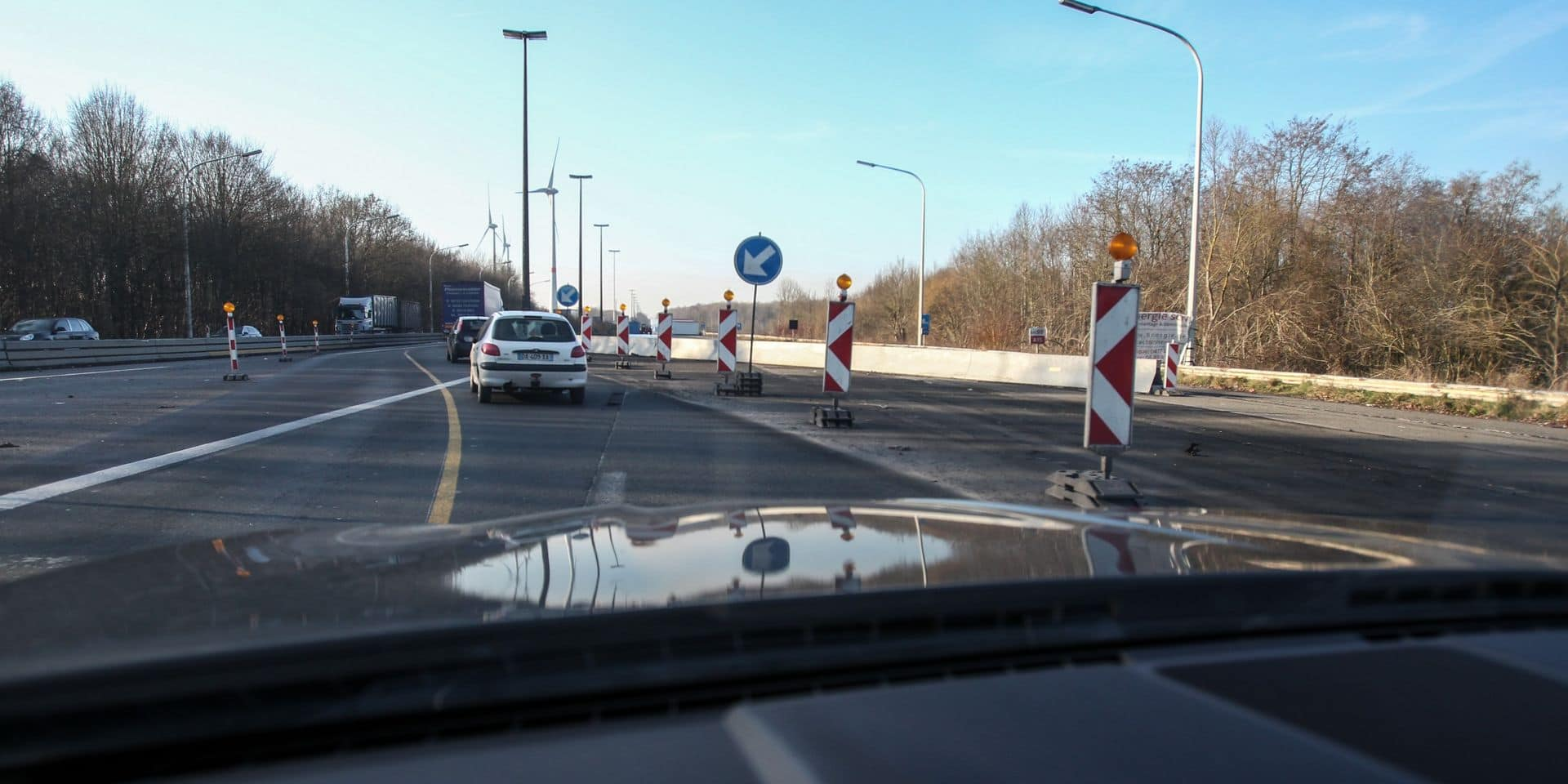Travaux sur la E42/A15 entre Gouy et Manage vers Mons
