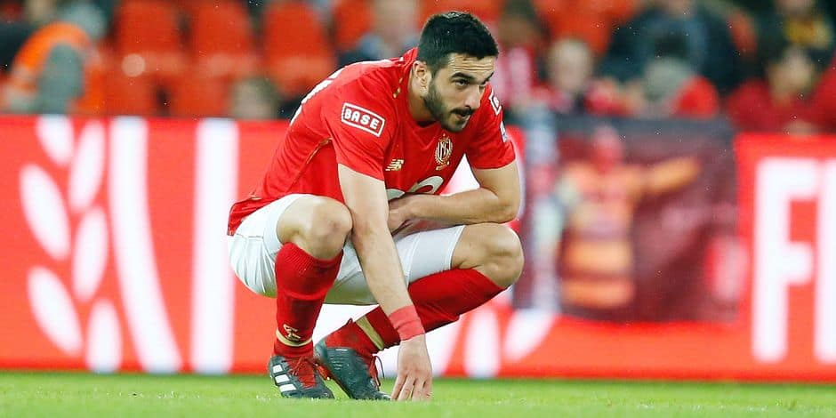 Standard's Konstantinos Kostas Laifis looks dejected after a soccer match between Standard de Liege and KAA Gent, Friday 10 May 2019 in Liege, on day 8 (out of 10) of the Play-off 1 of the 'Jupiler Pro League' Belgian soccer championship. BELGA PHOTO BRUNO FAHY