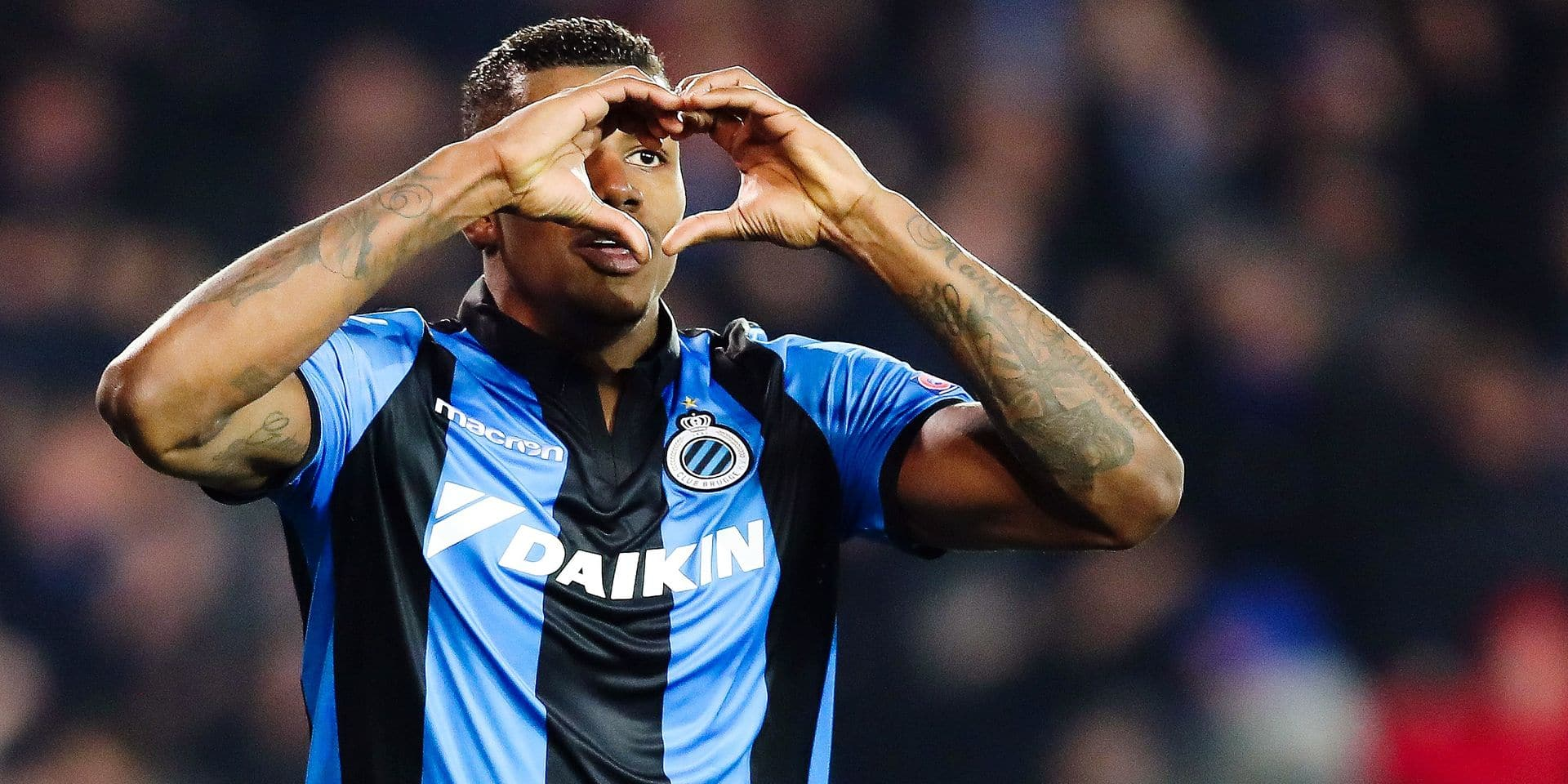Club's Wesley Moraes forms a heart with his hands as he celebrates after scoring during a soccer game between Belgian team Club Brugge KV and Austrian club FC Red Bull Salzburg, the first leg of the 1/16 finals (round of 32) in the Europa League competition, Thursday 14 February 2019 in Brugge. BELGA PHOTO BRUNO FAHY