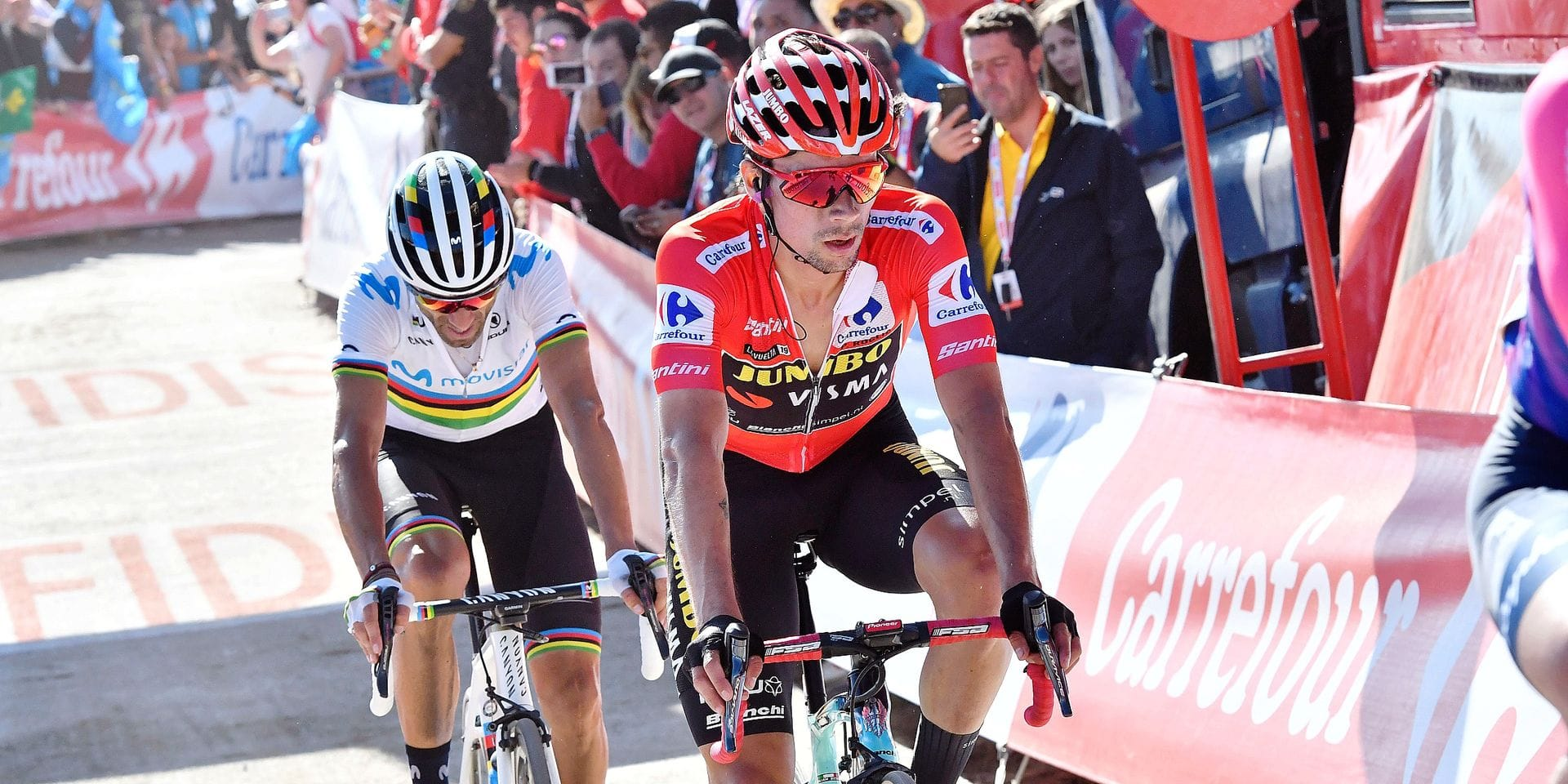 Slovenian Primoz Roglic of Team Jumbo-Visma, wearing the Maillot Rojo and Spanish Alejandro Valverde of Movistar Team pictured at the arrival of stage 15 of the 2019 edition of the 'Vuelta a Espana', Tour of Spain cycling race, from Tineo to Santuario del Acebo (154,4 km), Sunday 08 September 2019. BELGA PHOTO YUZURU SUNADA - FRANCE OUT