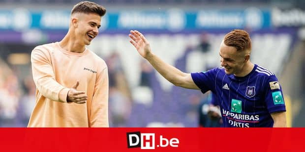Anderlecht's Adrien Trebel and Anderlecht's Leander Dendoncker pictured during the Jupiler Pro League match between RSC Anderlecht and KRC Genk, Sunday 20 May 2018 in Brussels, on the tenth and last day of the Play-Off 1 of the Belgian soccer championship. BELGA PHOTO LAURIE DIEFFEMBACQ
