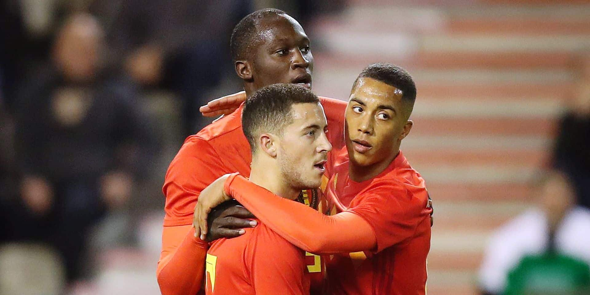 Belgium's Eden Hazard, Belgium's Romelu Lukaku and Belgium's Youri Tielemans celebrate after scoring during a friendly soccer game between Belgian national team Red Devils and Mexico, Friday 10 November 2017, in Brussels. BELGA PHOTO VIRGINIE LEFOUR