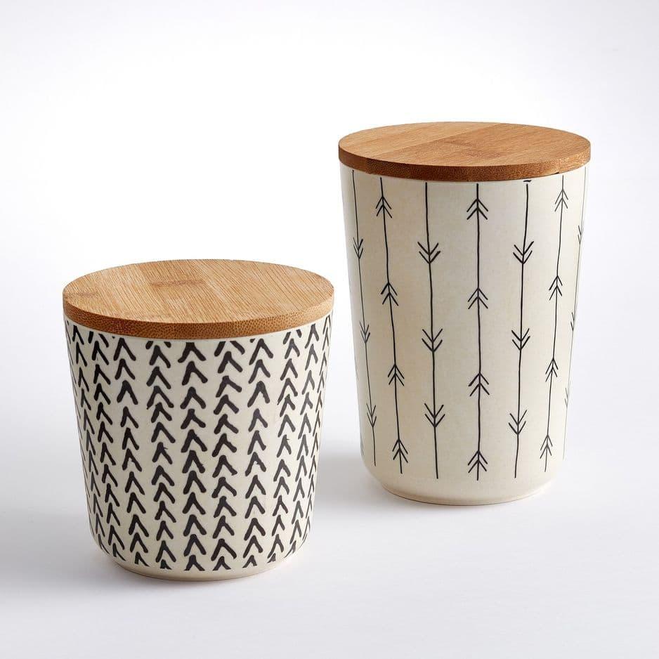 Lot de                 2 boîtes de conservation en bambou,                                                                           La Redoute Intérieurs, 22,99 euros