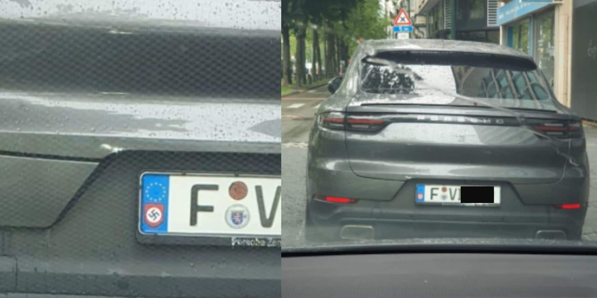 Bruxelles : une Porsche repérée avec un autocollant d'un drapeau nazi sur la plaque d'immatriculation