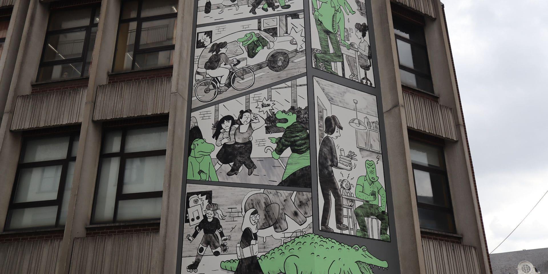 """""""Les Crocodiles"""" sont mis en scène sur les murs de Bruxelles pour lutter contre le harcèlement de rue et le sexisme"""